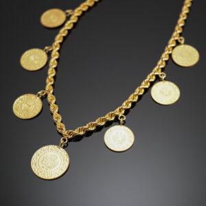 Bjørn borg halskæde med kurush guldmønter i 22 karat guld