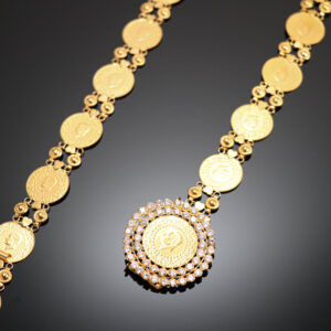 Guldbælte med kurush guldmønter i 22 karat guld