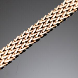 Krydsmønster armlænke i 14 karat guld