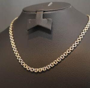Guld hvidguld halskæde i 14 karat guld