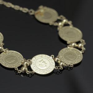 Armlænke med 6 x 25 Kurush mønter i 22 karat guld