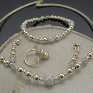 Kugle smykkesæt i 18 karat guld