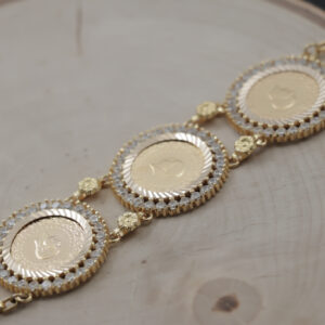 Armlænke med 3 x 25 kurush mønt i 22 karat guld