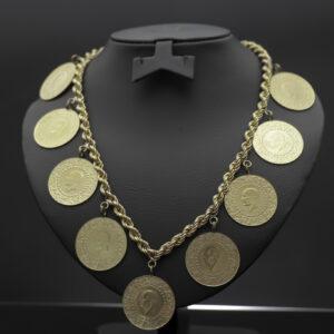 Halskæde med 9 x 100 kurush mønter i 22 karat guld