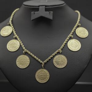 Halskæde med 7 Resat lira mønter i 22 karat guld
