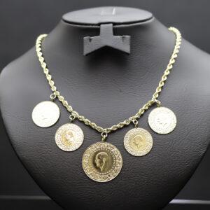 Halskæde med 1 x 100 - og 4 x 50 kurush mønter i 22 karat guld