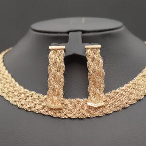 Bred flettet smykkesæt i 21 karat guld