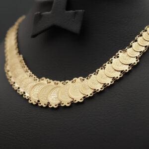 Halskæde med resat mønter i 21 karat guld