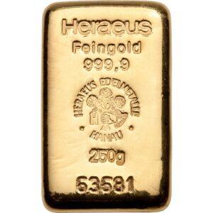 Heraeus guldbarre 250g