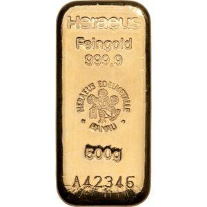 Heraeus guldbarre 500g